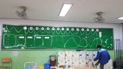 울산샷시 중구에 위치한 학교 교실뒤에 게시판  부직포설치 작업