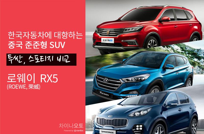 중국차 스펙전격해부_중국 준중형 SUV 로웨이 RX5 VS 투싼, 스포티지 비교