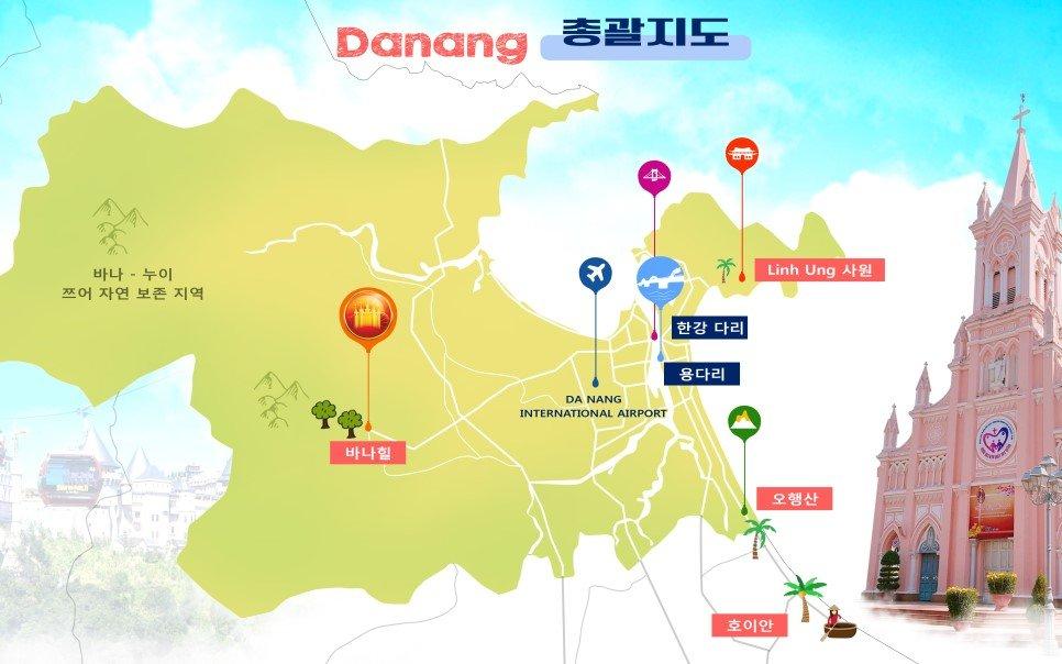 Image result for 다낭 관광지 오행산 바나힐 지도