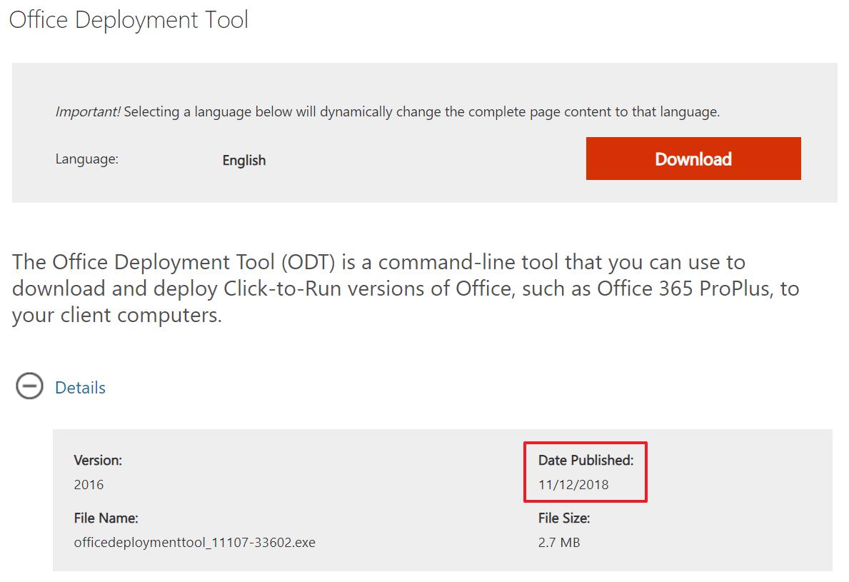 Office Deployment Tool 2019