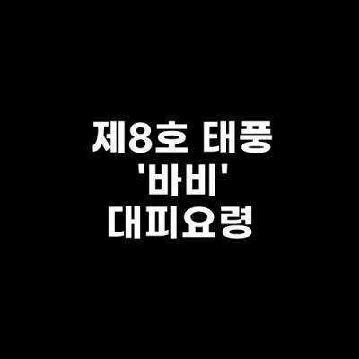 제8호 태풍 바비 대비요령 정리 필독!!
