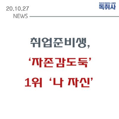 """[채용뉴스] 취준생 설문조사  '자존감도둑' 1위  """"OOO"""""""